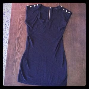 Black tunic with gold buttons on shoulders